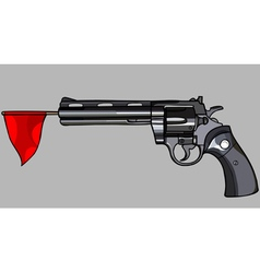 Revolver with a red flag vector
