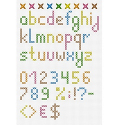 Colorful cross stitch lowercase english alphabet vector