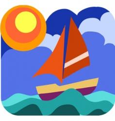 Yacht sailing vector