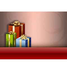 Christmas background red stripe gifts vector