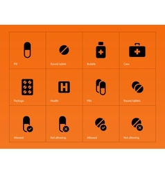 Pills icons on orange background vector
