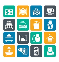 Silhouette hotel and motel services icons vector