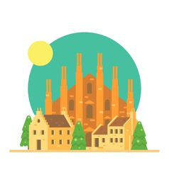 Flat design of duomo di milano italy with village vector