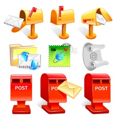 Variety of mailbox and the letter icon sets vector