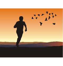 A lone runner on the horizon vector