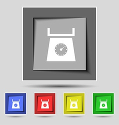 Kitchen scales icon sign on the original five vector