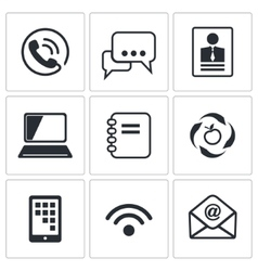Communication icons set vector