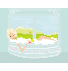 Pretty girl with drink in bath enjoying elegant vector