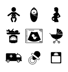 Pregnancy and birth icons vector