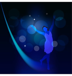Abstract background with moonlight path and a girl vector