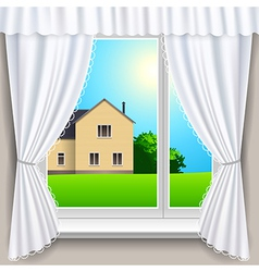 Spring window house vector