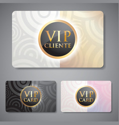 Set of vip cards with circle pattern vector