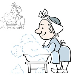 Lady doing laundry vector