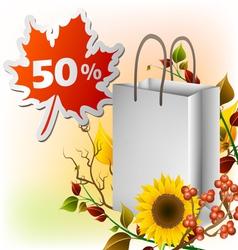 Autumn shopping bag vector