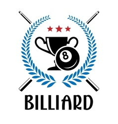 Billiard emblem with laurel wreath vector