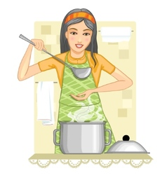 Young woman tests food in the kitchen vector