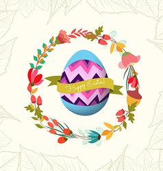 Happy easter with egg and wreath flower greeting vector