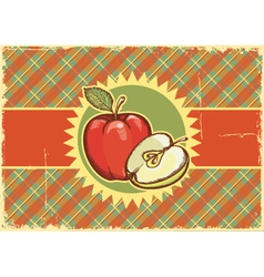 Apples vintage label on old paper vector