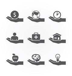 Hand icons saving concept design vector