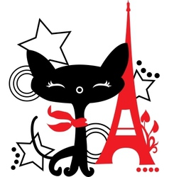 Cat silhouette in france vector