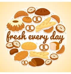 Fresh every day bakery label vector