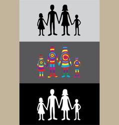 Family rainbow silhouette vector
