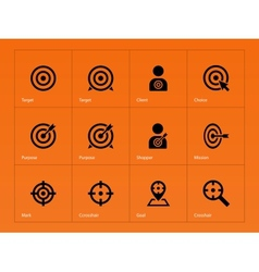 Target icons on orange background vector