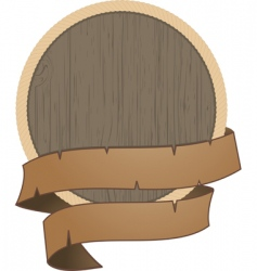 Wooden shield with rope detail vector
