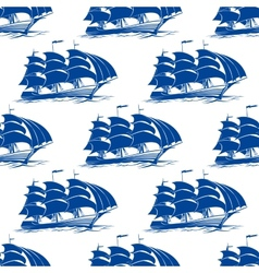 Seamless pattern of a fully rigged sailing ship vector