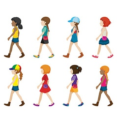 Faceless young ladies walking vector