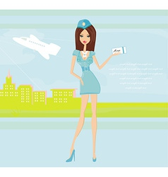 Beautiful stewardess with ticket at the airport vector