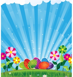 Easter eggs and shine vector