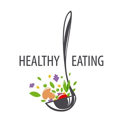 Logo ladle and vegetables for a healthy diet vector
