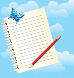 Notebook and butterfly vector