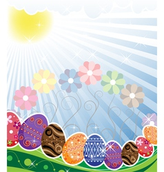 Original easter eggs on a spring meadow vector