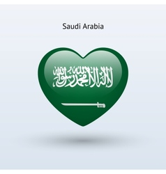 Love saudi arabia symbol heart flag icon vector