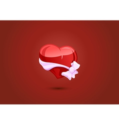 Valentine heart with a bow-knot vector