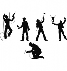 Silhouettes worker vector