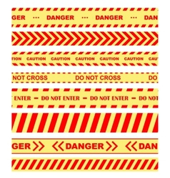 Warning danger and caution tapes or ribbons vector