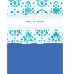 Abstract flower damask vertical torn frame vector
