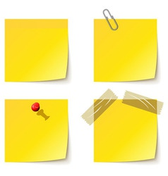 Yellow notice papers isolated on white vector