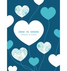 Blue line art flowers heart symbol frame pattern vector
