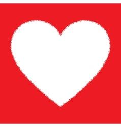 White hand drawn grunge heart vector
