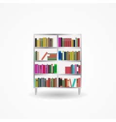 Bookcase with books icon vector