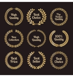 Premium quality laurel wreaths in retro style vector