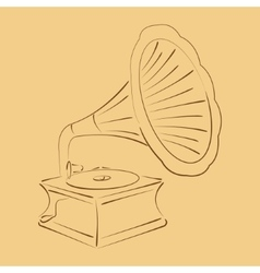 Retro stylized sketched gramophone vector
