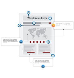 World news web page wireframe structure prototype vector