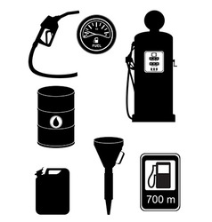Black silhouette fuel set icons vector