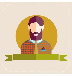 Male avatars in flat style bearded man vector