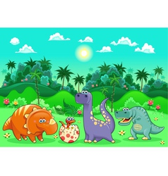 Funny dinosaurs in the forest vector